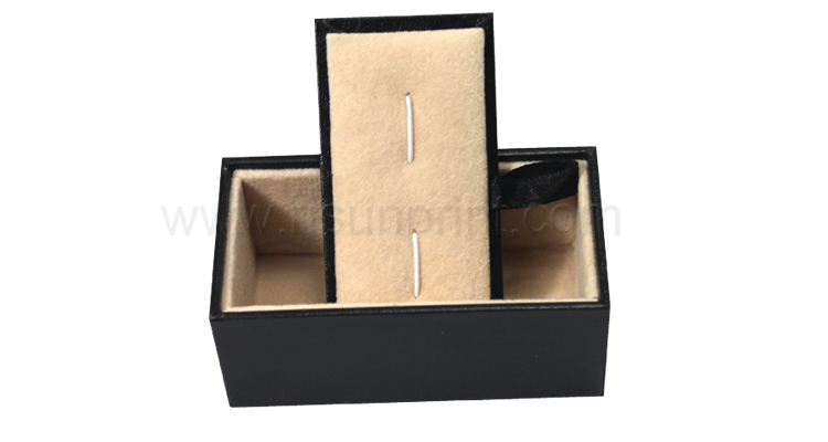 Black Leather Earing Jewelry Box