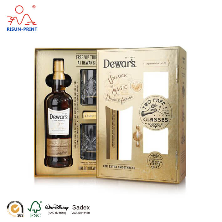 Cardboard wine whiskey Packaging Box