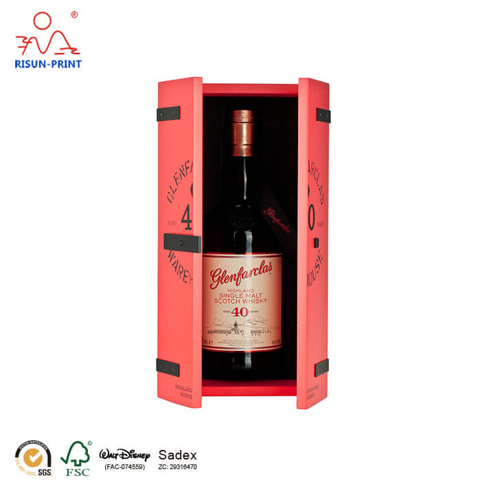 Whisky red wooden Wine box